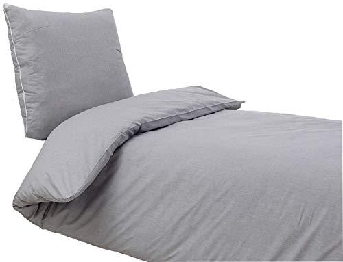 saleandmore 2 TLG. Perkal Bettwäsche Set | Bettdeckenbezug 135x200 cm, mit Kopfkissenbezug 80x80 cm | Grau | 2 teilig Bettgarnitur | Baumwolle Bettbezug mit Reißverschluss | Oeko-TEX®