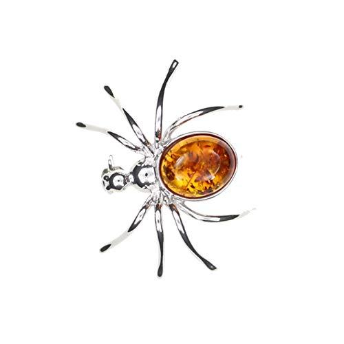 """Brosche\""""Spinne\"""" mit Natur Bernstein, Fassung 925/000 Sterling Silber rhodiniert von Artisana-Schmuck"""