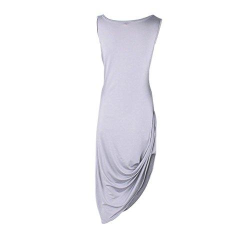 Imixcity® Des femmes Bodycon Long du genou Robe de Bal Soirée Cocktail Party Robe Sans Manches Super élastique gris clair