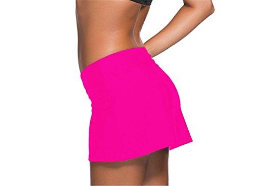 Aleumdr Damen Baderock figuroptimierender Strandrock UV Schutz Wassersport Bikinirock Badeshorts Skorts Rosa