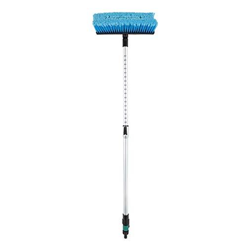 Hsdris Waschbürste Autowaschbürste Extra Lange Teleskopstange aus Wasseraluminium Bürstenkopf abnehmbar Geeignet für die Reinigung großer Autos