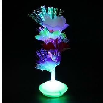Bheema fibre optique noël de fleurs cadeau parti lampe coloré maison de veilleuse