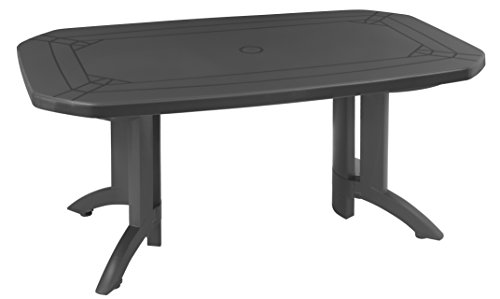 GROSFILLEX 52174002 Table Vega 165 x 100, Anthracite, 165 x 100 x 72 cm
