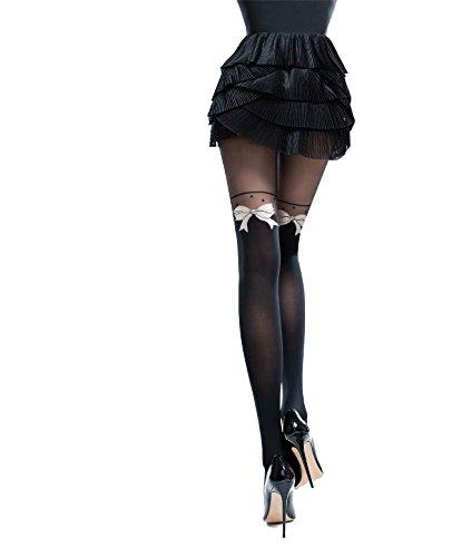 Knittex Glam Blickdichte Damen Strumpfhose in Overknee Look mit Muster Pantyhose Stockings Schwarz aus Microfaser 3D (Strumpfhosen Schwarz Stocking Strumpfhosen)