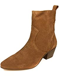 25a86809e48 Zara Women s Leather Cowboy Heel Ankle Boots 2156 001 Brown