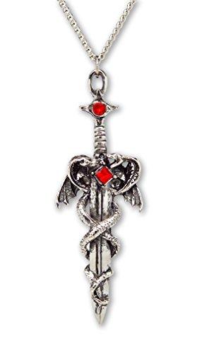Drachen verpackt um Schwert Mittelalter Renaissance Anhänger Halskette