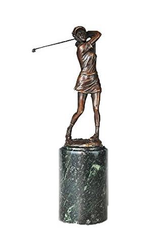 Toperkin Metal fig¨¹rchen Metal Sport Statue Golfer Lady Bronze Sculpture TPE-727 (Golfer Bronze Garten-statue)