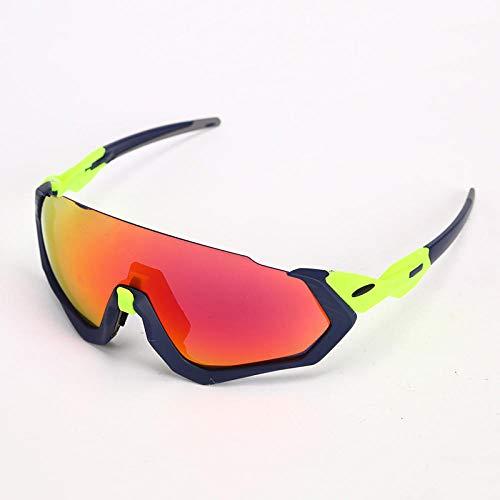 TIANOKLN Winddichte Brille mit Motorrad-Augenschutz, Outdoor-Sport-Fahrrad-Reitbrille, Sonnenbrille, dunkelblauer Rahmen + grüne Füße