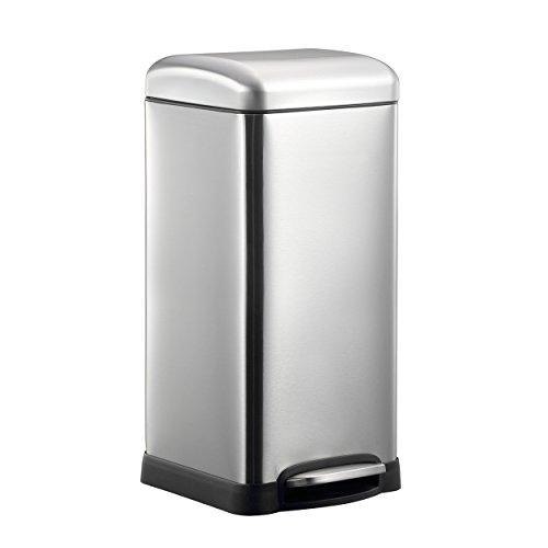 Harima - Treteimer, 30 Liter, matte Stahloberfläche, unempfindlich gegen Fingerabdrücke, Edelstahl, Recycling-Behälter, Mülleimer, Küchenabfalleimer, mit sanft schließendem Deckel, 30l (Küche Kompost-glas)
