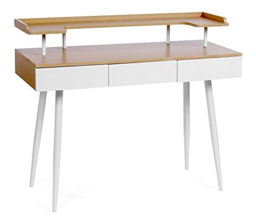 ts-ideen Design Schreibtisch Computer Arbeitstisch Konsole mit Ablage und 3 Schubladen Tisch MDF helle Holzoptik und weiße Metallbeine