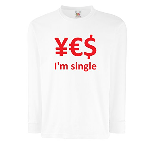 N4596D Kinder-T-Shirt mit Langen Ärmeln Yes, I\'m Single! (3-4 Years Weiß Rote)