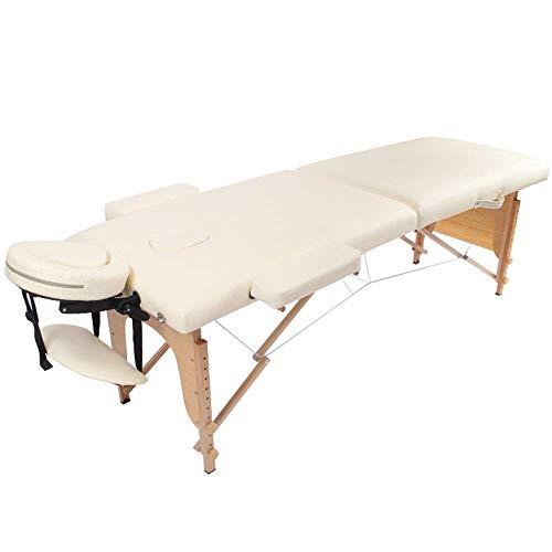 Anmochuang Lettino da Massaggio, Lettino per Massaggi, Lettino Portatile per Fisioterapia Estetico Portatile con Poggiatesta E Gambe in Legno - Regolabile A 8 velocità (Color : White)