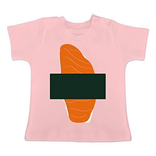 (Karneval und Fasching Baby - Sushi Kostüm - 6-12 Monate - Babyrosa - BZ02 - Baby T-Shirt Kurzarm)