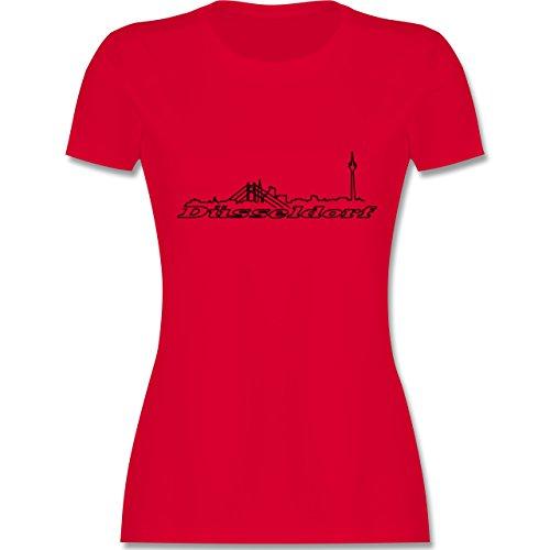 Skyline - Düsseldorf Skyline - tailliertes Premium T-Shirt mit Rundhalsausschnitt für Damen Rot