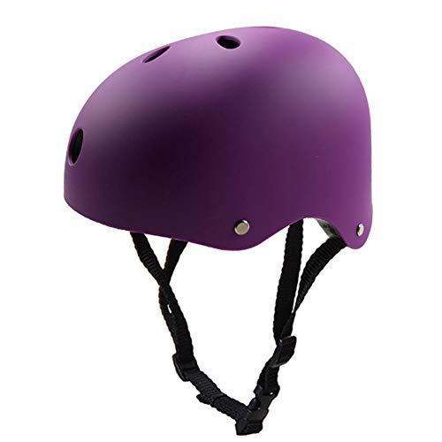 QZPDP Kinder Skateboarder Helm Fahrradhelm Integralhelm Rollerhelm für Radfahrer Skateboard Scooter Bike Sicherheit Helm,Einstellbarer Kopfumfang,Geeignet für Kinder und Erwachsene,Lila,51~54cm