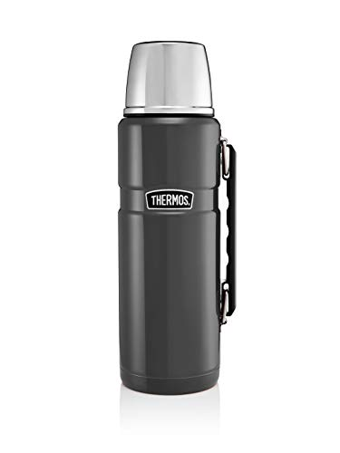 Große King Thermos®-Kanne, grau, aus Edelstahl, mit Trinkbecher und Griff, 1,2 L
