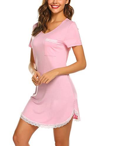 Kurzarm-nachthemd (MAXMODA Damen Nachthemd Kleid Nachtwäsche Negligees Kurzarm Mit Spitzenbesatz)