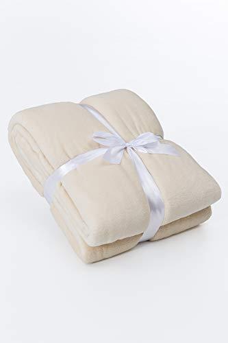myHomery Kuscheldecke fürs Sofa aus Coral Fleece - Decke - Wolldecke warm & kuschelig - Sofadecke XL - Wohndecke gemütlich - Creme | 150 x 200 cm -