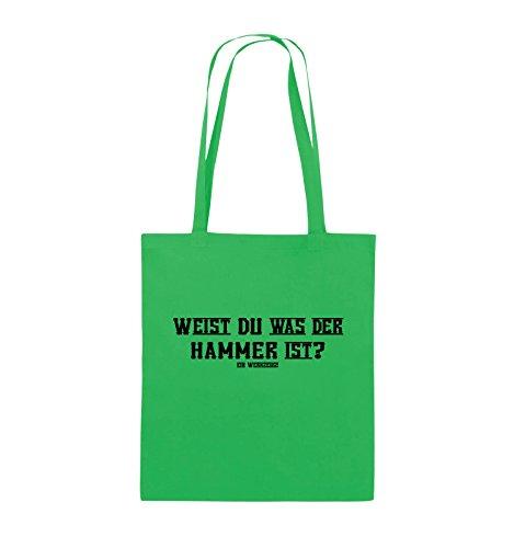 Comedy Bags - WEIST DU WAS DER HAMMER IST? - Jutebeutel - lange Henkel - 38x42cm - Farbe: Schwarz / Silber Grün / Schwarz