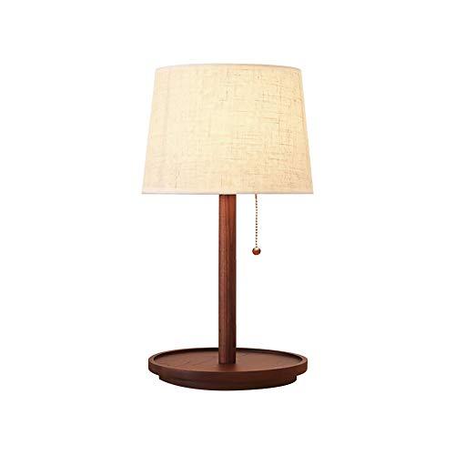 Schreibtisch Tischlampe Brown Linen Drum Shade für Wohnzimmer Familie Schlafzimmer Nacht Massivholz Arbeitszimmer Eye Desk Nordic Tischlampe,Brown,remotecontrol ()