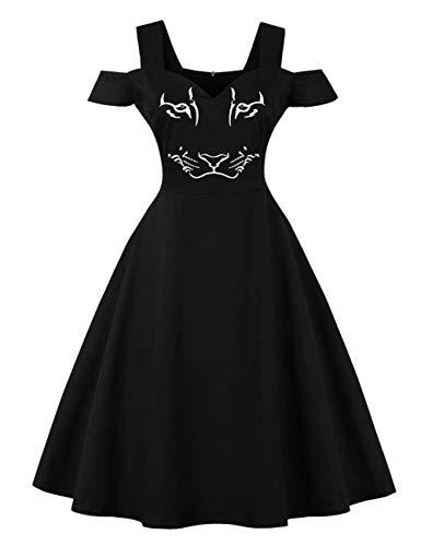 FeelinGirl Damen Kleider Herbst Elegant Knielang Abendmode Festlich Vintage Blumen 1950er Partykleid Rockabilly Ärmellos Retro ()