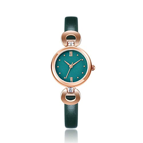 WANSIRUI Damen Quarzuhr, Classic Simple Casual Design Strass Kunstleder Armbanduhr, Ultra Slim Red Dial Fashion Watch Kratzfest Kleid Uhren (Color : Green) -