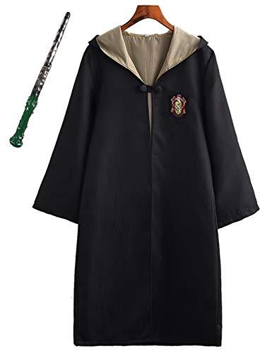 Monissy Harry Potter Kostüm Kinder Erwachsene Umhang Zauberstab Gryffindor Hufflepuff Ravenclaw Slytherin Set Fanartikel Weste Krawatte Schal Brille Halskette Karneval Verkleidung Fasching ()