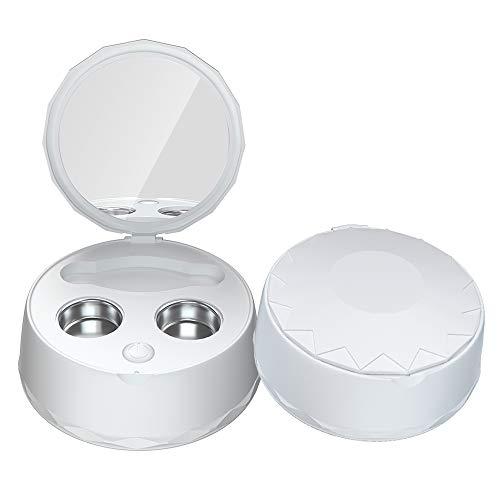 CWWHY Ultraschall-Kontaktlinsen-Reiniger, Kontaktlinsen-Reiniger-Maschine, Kleines & Tragbares USB-Ladegerät, Geeignet Für Verschiedene Arten Von Kontaktlinsen,Weiß