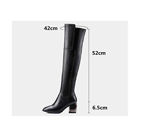 YYH Mode Chunky talons Long sur le genou chausson et velours coton bottes pour dames épaissi cuir véritable chaleureux Black