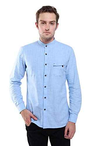 Hochock LaiGouMai Herren Hemd mit Stehkragen, langärmlig, Leinen, Baumwolle, Button-Down-Hemd, Größe L, Blau Junior Fashion Denim Jacke