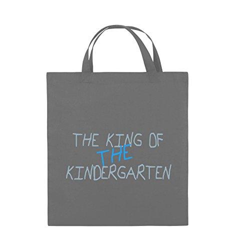 Comedy Bags - The king of the Kindergarten - Jutebeutel - kurze Henkel - 38x42cm - Farbe: Schwarz / Weiss-Neongrün Dunkelgrau / Eisblau-Blau