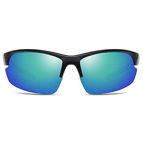 KJDFN Outdoor Radsport Kunststoff UV400 Sonnenbrille Grau/Grün Linse Schwarzer Rahmen Herren Polarisierte Sandpapiersonnenbrille Trend (Farbe : Green)