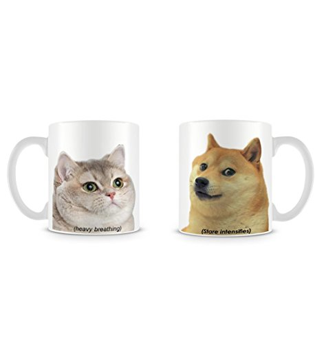 Cute Doge Dog And Funny Heavy Breathing Cat Meme DesignTaza