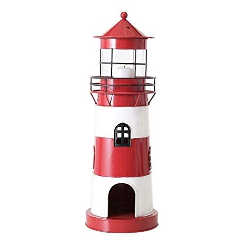 Home Collection Metall Laterne Windlicht Leuchtturm H42cm rot Eisen lackiert -