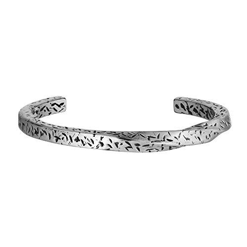 AmDxD Edelstahl Herren Armband Twist Manschette Armbänder Gothic Freundschaftsarmbänder Silber 6.5CM