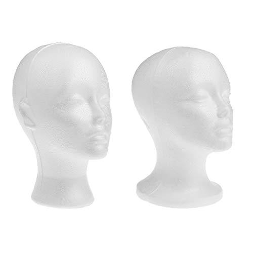 F Fityle 2 STK. Weibliches Schaum Mannequin Kopfmodell Hut Perücken Ausstellungsstand - Heavy Duty und wiederverwendbar