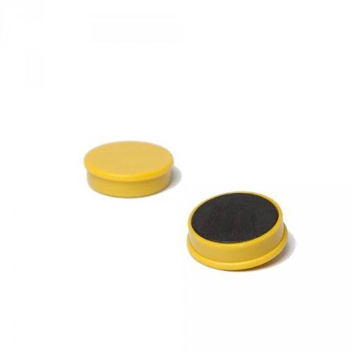 20 x Magnetpin 24x7 mm, Farbe: Gelb, Dekomagnet für Pinnwand, Whiteboard, Tafel
