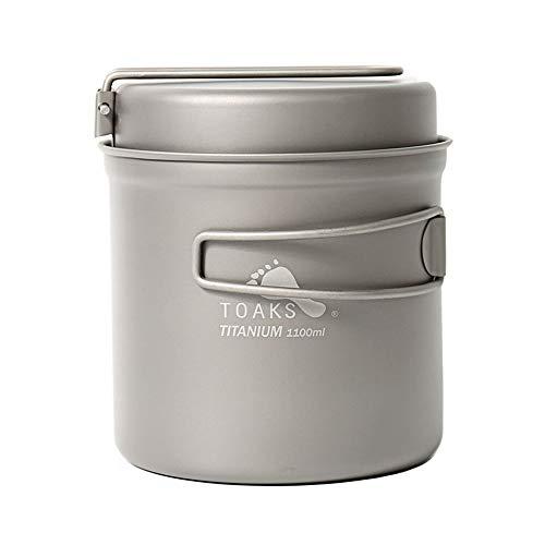 Toaks titanium outdoor camping pan, hiking cookware, backpacking cooking picnic bowl, pot pan set, 1100ml