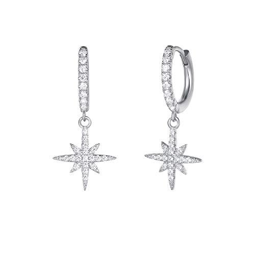 Carleen 925 Sterling Silber Creolen Ohrringe Klein Ohrhänger mit Cubic Zirkonia Kompass Stern Anhänger für Damen Mädchen Kinder - Größe: 26 * 12 mm