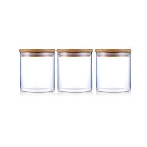 Barattolo in vetro, contenitori per alimenti da cucina con coperchio in bambù che lo rendono ermetico (500 ml-3 confezioni)