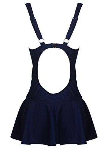 HENGJIA Maillot De Bain Femme 1 Pièce Sexy Push Up Gainant Amincissant à Col V Couleur Unie Bleu foncé