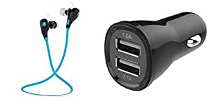 GENERIC Bluetooth Headset & Car Charger for MOTOROLA defy xt(Jogger Headset|| Sports Headset|| Wire less Earphone||Bluetooth Headphone || Exercise Headset || Gym Headset || With Mic ||Car Charger || 2 Ports car charger|| Mobile Charger|| Fast Charger|| Rapid Car charger|| Quick Charger)