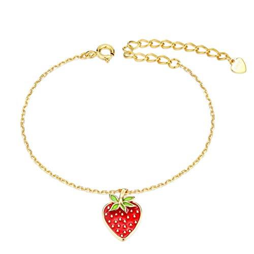 WANZIJING Rote Erdbeere Halskette Armband Ohrringe Set, Sterlingsilber Emaille Charm Süßigkeiten Anhänger Schmuckset für - Schmutz Billige Kostüm Schmuck