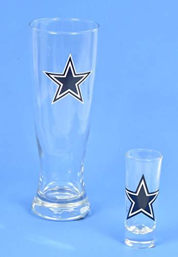 Dallas Cowboys, Pilsner Glas und Schnapsglas Set, für EIN Shot und EIN Bier Bier Pilsner Set