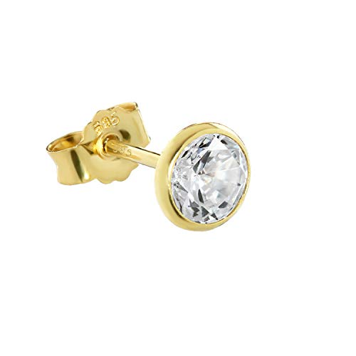 NKlaus Single Ohrstecker echt Gold 585er 5,5mm Cubic Zirkonia Damen Herren Kinder 1748