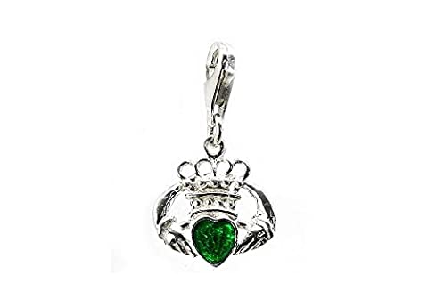 CLASSIC DESIGNS Sterling Silver 925 Enamelled Green Heart Claddagh Clip On Charm N525GTC
