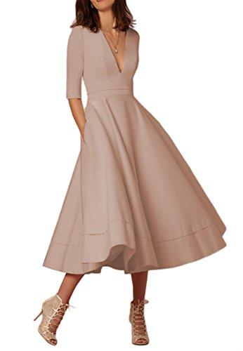 OMZIN Femme Robe Grande Taille Robe de Cocktail Année 50 Vintage Robe Midi avec Poche Kaki XXXL