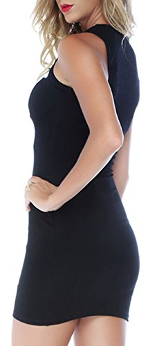 ABILIO - vestito nero donna stretch vestitino sexy elasticizzato vestito rosso aderente Nero