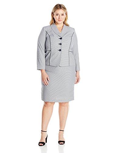 Le Suit Seersucker Damen Rock mit 3 Knöpfen in Übergröße - Mehrfarbig - 50 Mehr Damen Seersucker