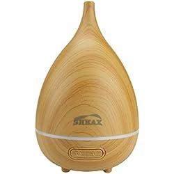 shkax Diffuseur D'huile Essentielle Electrique Humidificateur Ultrasonique Huiles Brumisateur Arôme Lampe avec Lumières LED de 7 Couleurs Arrêt Automatique pour Yoga Spa (200ml Grain de Bois Primaire)